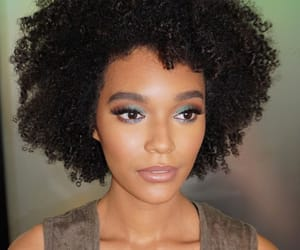 brown skin, curls, and curly hair image