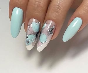 art, blue nails, and spring image
