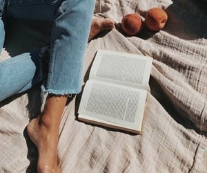 book, girl, and jeans image