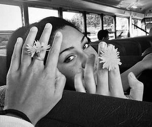 girl, flowers, and bus image