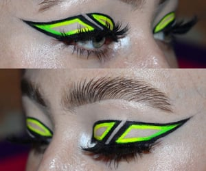 Black Eyeliner, lashes, and thick eyebrows image