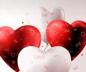 balloons, love, and red image