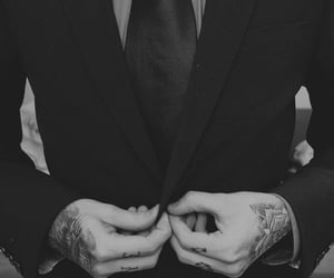 black and white, suit, and tattoo image