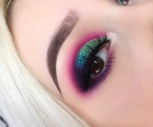 blue, rainbow, and eyeshadow image