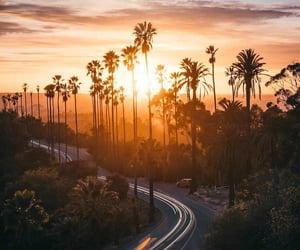 landscape, road, and sunset image