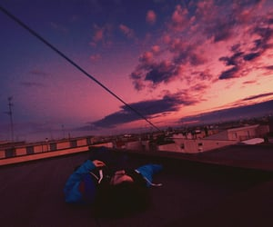 grunge, sky, and sunset image