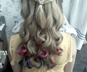 blue, curly, and dipdye image