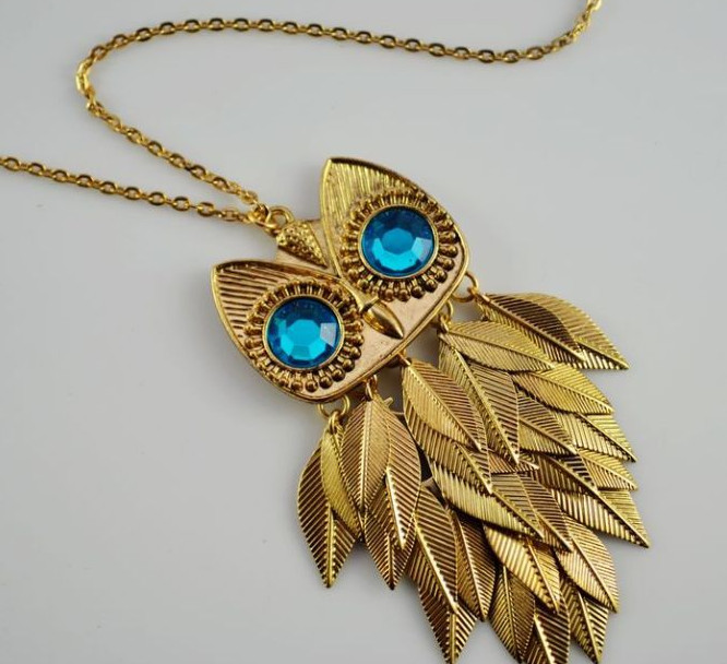 Cool gold tone leaves owl pendant long chain necklace wholesale aloadofball Gallery