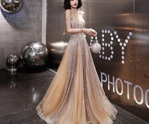 girl, gold dress, and long dress image