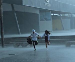couple, rain, and love image