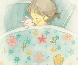 girl, illustration, and sleep image
