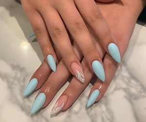 light blue, matte, and matte nails image