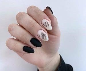 black, black nails, and matte image
