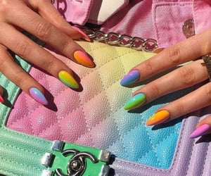 nails, chanel, and rainbow image