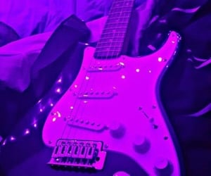 purple, guitar, and aesthetic image