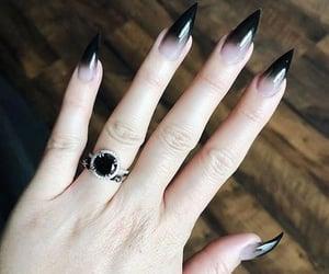nails, goth, and ring image