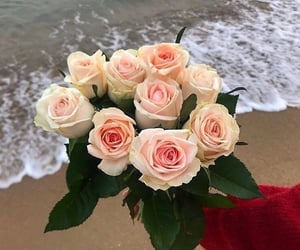 sea, beautiful, and flowers image