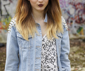 dip dye, red lipstick, and studded jacket image