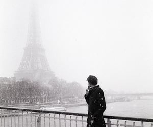 paris, snow, and boy image