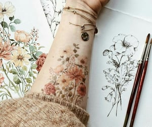 art, flowers, and tattoo image