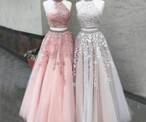 evening gowns, prom gown, and beaded prom dress image