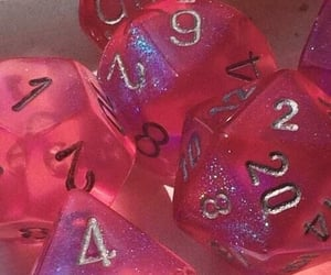pink, aesthetic, and dice image
