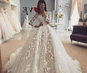 dress, wedding, and elegant image