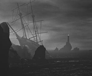black and white, gloomy, and rocks image