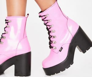 fashion, pink boots, and shoes image