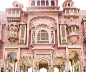 building, pastel, and pink image