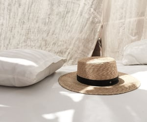 hat, beige, and summer image