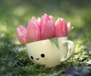 cup, flowers, and tulips image