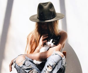 cat, girl, and hat image