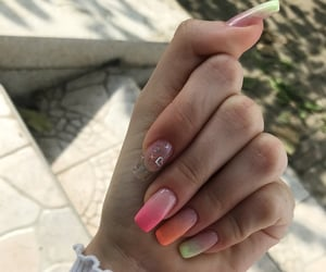 girly, nails, and orange image