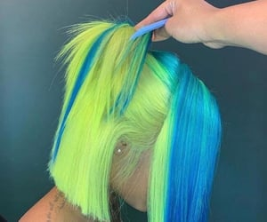 hair, blue, and dye image