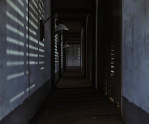 blinds, dark, and hallway image