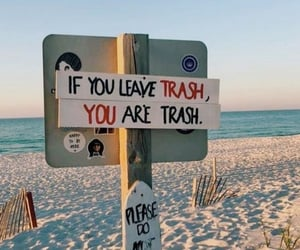 trash, beach, and ocean image