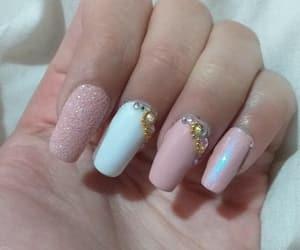 art, nail, and pink image