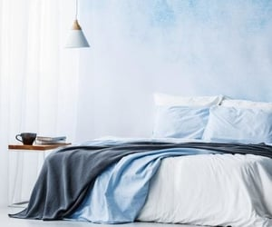 bedroom, blue, and cortina image
