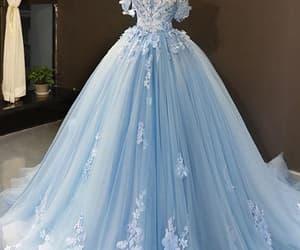 wedding dress, blue wedding dress, and elegant wedding dress image