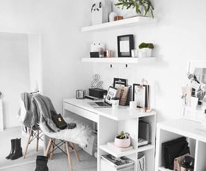 home, white, and desk image
