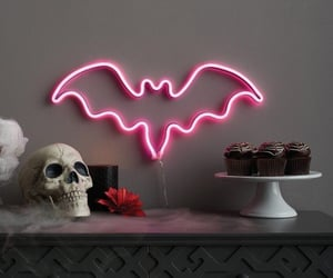 Halloween, neon, and bat image