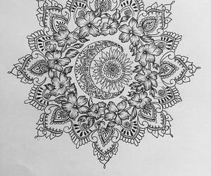 drawing, flowers, and mandala image