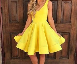satin, yellow dress, and cheap dress image