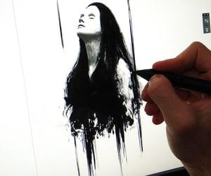 artwork, portrait, and watercolor image
