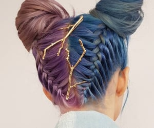 aesthetic, buns, and purple hair image
