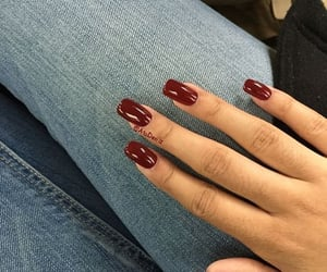burgundy nails&denim image