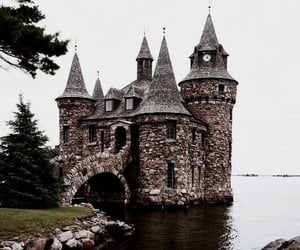castle, lake, and medieval image