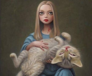blonde girl and cat image