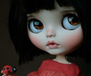 big eyes, doll, and ladybug image